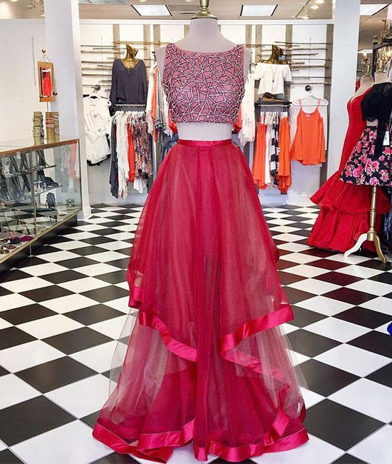 df0bc17641 Two Pieces Sequin Round Neck Tulle Long Red Prom Dresses