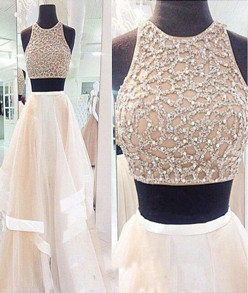 Two Pieces White Prom Dresses, Two Pieces White Formal Dresses, White Evening Dresses