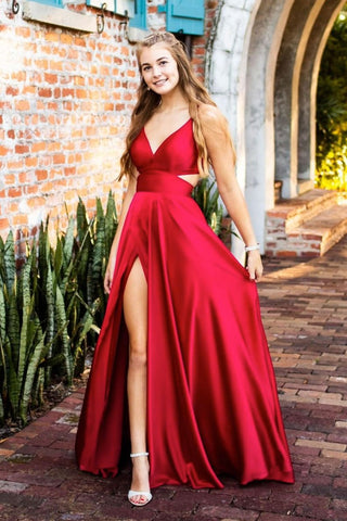 Unique V Neck Red Satin Long Prom Dress with High Slit, V Neck Red Formal Graduation Evening Dress