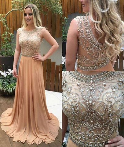 Unique A Line Round Neck Chiffon Rhinestones Beading Champagne Long Prom Dresses, Champagne Formal Dresses, Champagne Evening Dresses