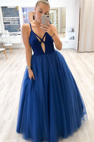 Unique A Line Royal Blue Tulle Long Prom Dress, Deep V Neck Royal Blue Formal Dress, Blue Evening Dress