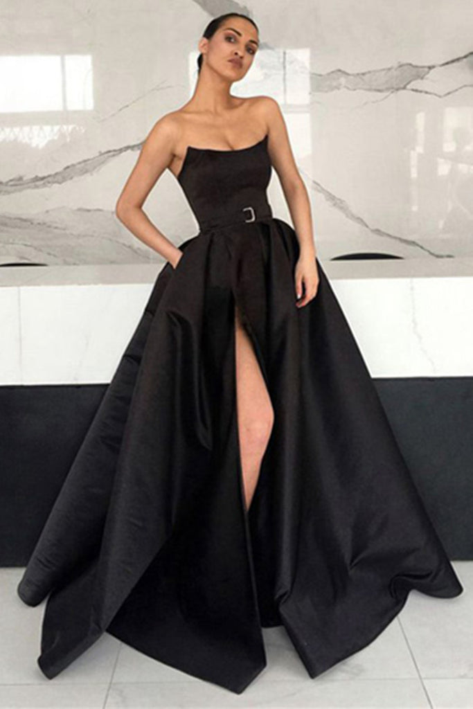 Unique Black Satin Long Prom Dresses with High Slit, Black Formal Dresses, Evening Dresses