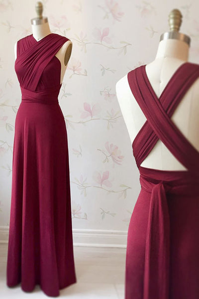 Unique Burgundy Long Prom Dress with Cross Back, Burgundy Formal Graduation Evening Dress, Burgundy Bridesmaid Dress