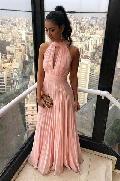 Unique Pink Chiffon Long Prom Dresses, Pleated Pink Formal Dresses, Pink Evening Dresses