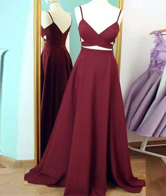 Unique Sexy Long Burgundy Prom Dresses, Burgundy Evening Dresses
