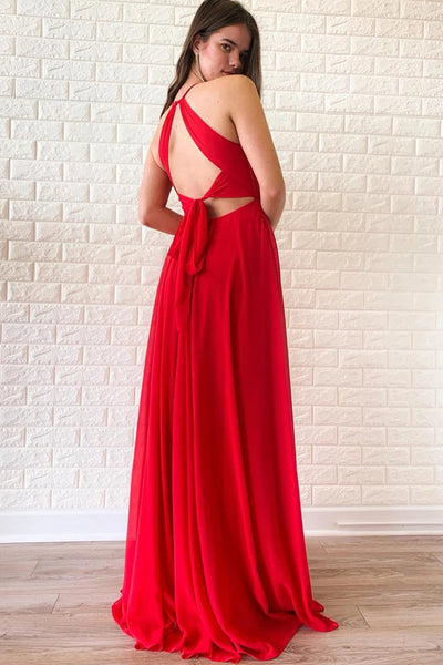 Unique V Neck Red Chiffon Long Prom Dress with High Slit, V Neck Red Formal Graduation Evening Dress
