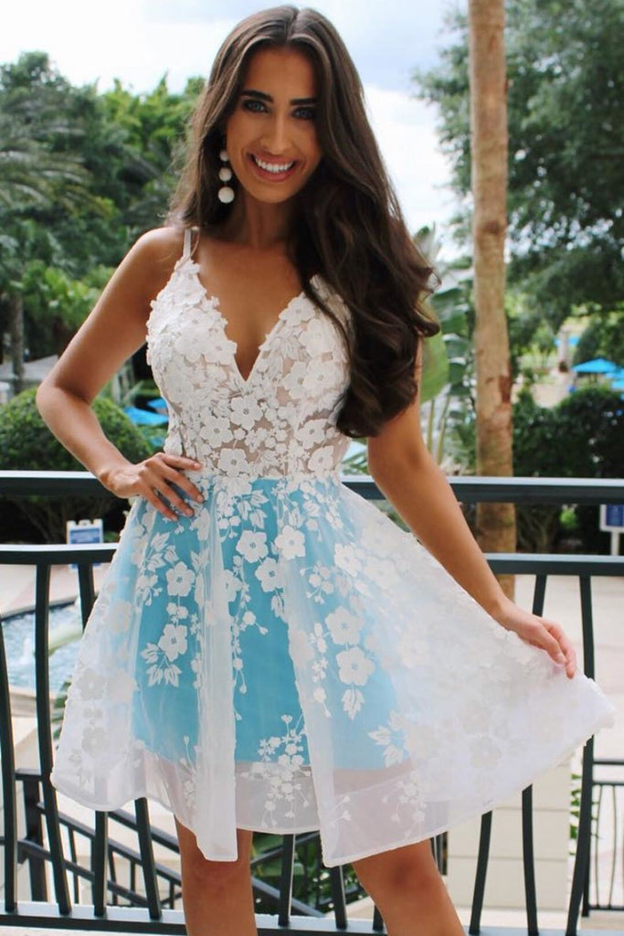 Unique V Neck White Lace Blue Short Prom Dress Homecoming Dress, White Lace Formal Graduation Evening Dress