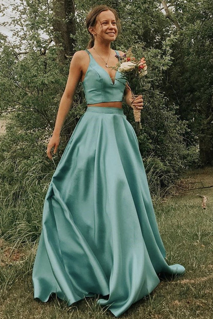 V Neck 2 Pieces Green Long Prom Dress, Two Pieces Green Long Formal Evening Dress