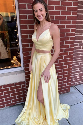 V Neck 2 Pieces Yellow Long Prom Dress with High Slit, Two Pieces Yellow Formal Graduation Evening Dress
