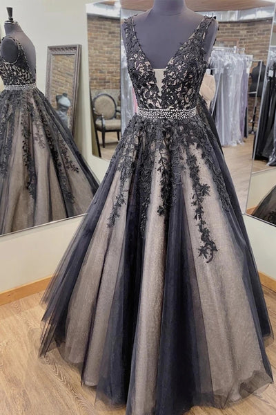 V Neck Backless Black Lace Long Prom Dress, Black Lace Formal Dress, Black Evening Dress