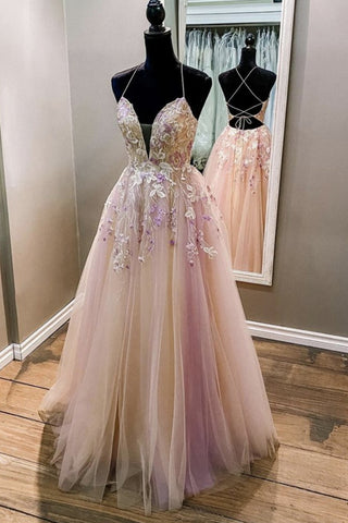 V Neck Backless Pink Lace Floral Long Prom Dress, Pink Lace Formal Dress, Pink Evening Dress