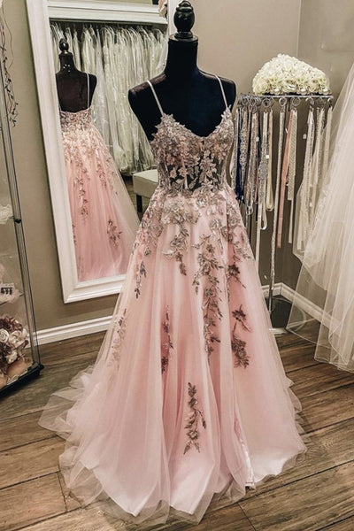 V Neck Backless Pink Lace Long Prom Dress, Long Pink Lace Formal Evening Dress
