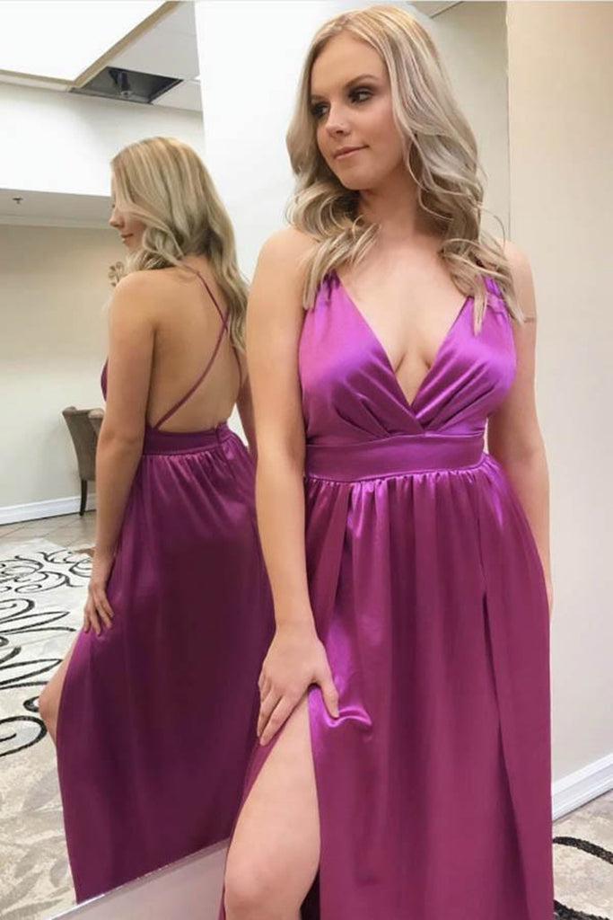 V Neck Backless Purple Long Prom Dress with High Slit, Backless Purple Formal Dress, Purple Evening Dress