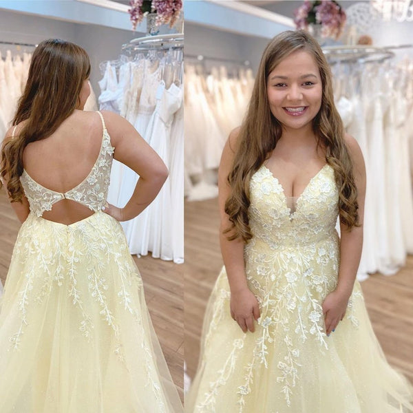 V Neck Backless Yellow Lace Long Prom Dress, Yellow Lace Formal Dress, Yellow Evening Dress