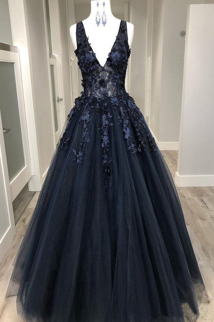 V Neck Beaded Black Lace Appliques Long Prom Dress, Black Lace Formal Graduation Evening Dress