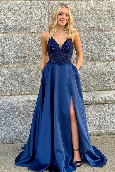 V Neck Beaded Blue Lace Long Prom Dress with Leg Slit, Blue Lace Formal Dress, Blue Evening Dress