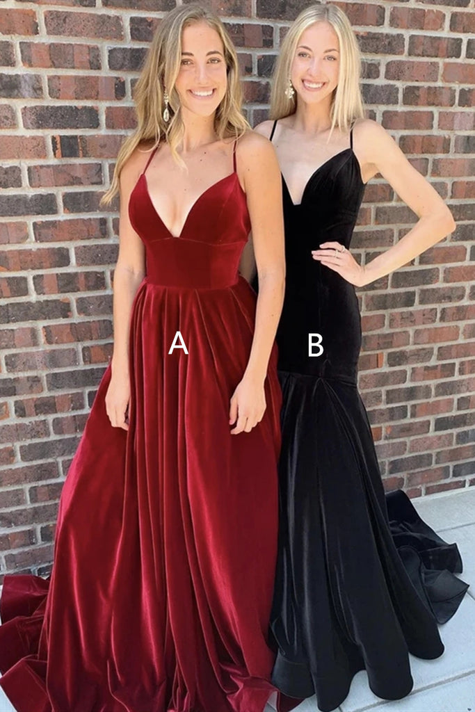 V Neck Burgundy Velvet Long Prom Dress, Mermaid Black Velvet Long Prom Dress, Formal Evening Dress