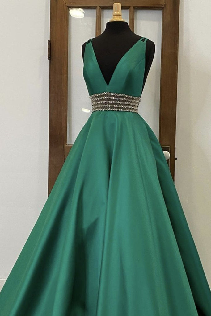 V Neck Emerald Green Satin Long Prom Dress, Emerald Green Formal Graduation Evening Dress