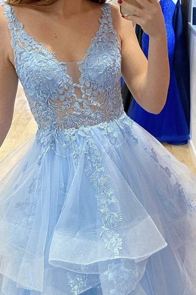 V Neck Fluffy Blue Lace Long Prom Dress, Blue Lace Formal Dress, Layered Blue Evening Dress