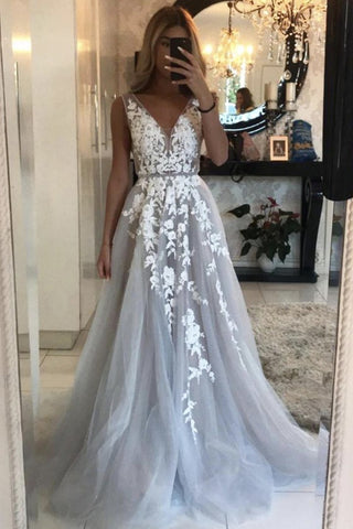 V Neck Gray Lace Long Prom Dress, Grey Lace Formal Graduation Evening Dress