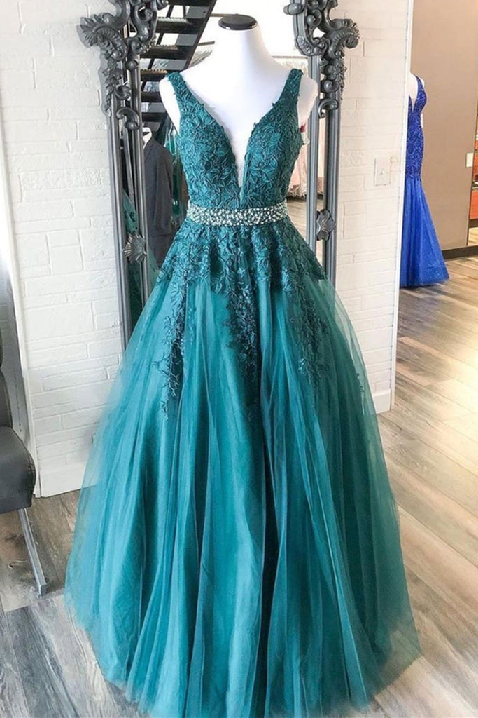 V Neck Green Lace Long Prom Dress with Beaded Belt, Long Green Lace Formal Evening Dress