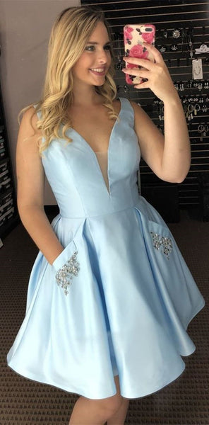 V Neck Light Blue Short Prom Dress with Pocket, Light Blue Formal Graduation Homecoming Dress