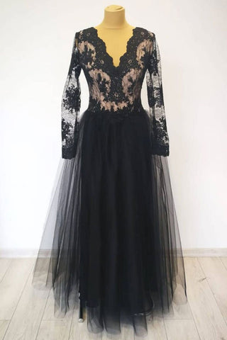 V Neck Long Sleeves Black Lace Long Prom Dress, Long Sleeves Black Lace Formal Dress, Black Lace Evening Dress