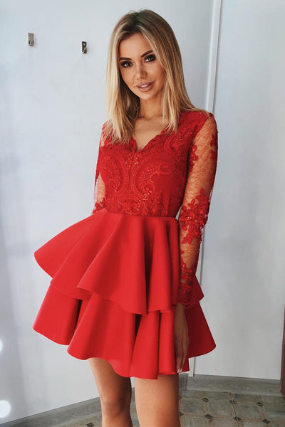 V Neck Long Sleeves Layered Red Lace Short Prom Dress, Long Sleeves Red Lace Formal Graduation Homecoming Dress
