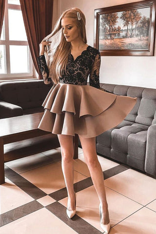 V Neck Long Sleeves Short Black Lace Top Champagne Prom Dress, Long Sleeves Black Lace Formal Graduation Homecoming Dress