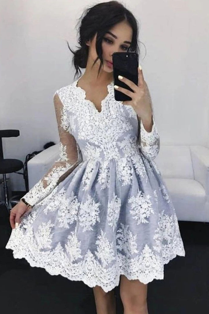 V Neck Long Sleeves Short Gray Lace Prom Dress, Short Gray Lace Formal Graduation Homecoming Dress