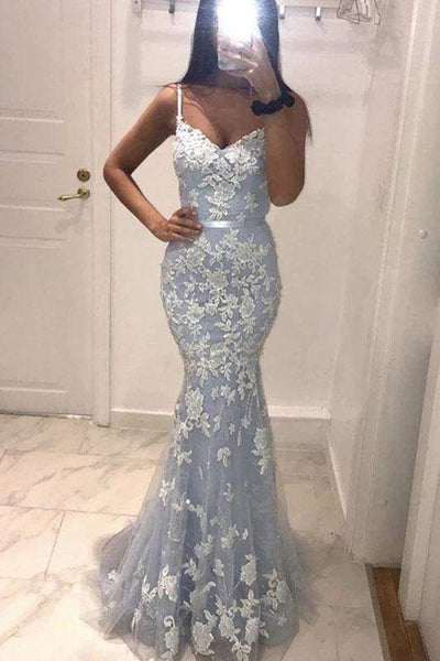 V Neck Mermaid Blue Lace Long Prom Dress, Mermaid Baby Blue Formal Dress, Blue Lace Evening Dress