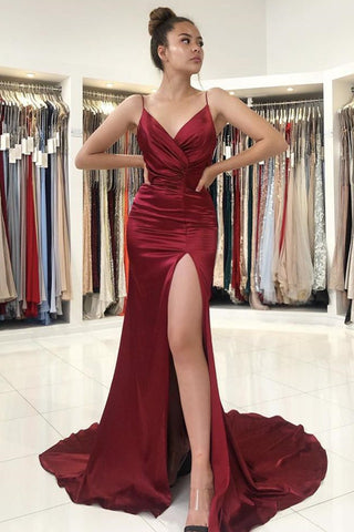 V Neck Mermaid Burgundy Satin Long Prom Dress with High Slit, Mermaid Burgundy Formal Graduation Evening Dress