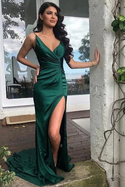 V Neck Mermaid Emerald Green Satin Long Prom Dress with Train, Mermaid Emerald Green Formal Graduation Evening Dress