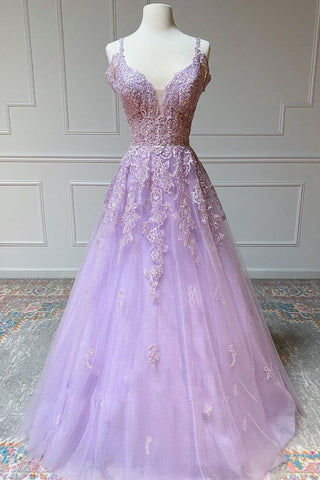 V Neck Off Shoulder Long Lilac Lace Prom Dress, Off Shoulder Purple Lace Formal Graduation Evening Dress
