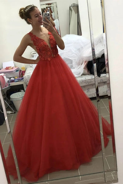 V Neck Open Back 3d Floral Red Lace Long Prom Dress, Red Lace Formal Graduation Evening Dress