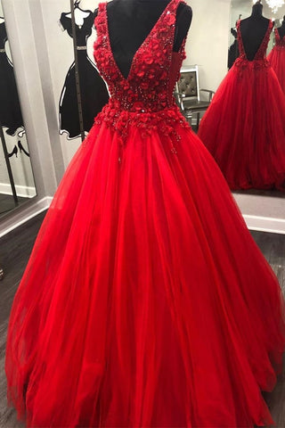 V Neck Open Back Beading Red Long Prom Dress with 3D Flower, V Neck Red Formal Dress, Red Evening Dress