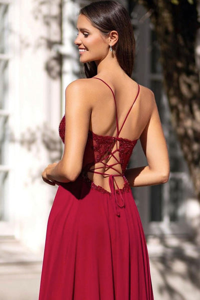 V Neck Open Back Chiffon Burgundy Lace Long Prom Dress with Slit, Burgundy Lace Formal Graduation Evening Dress