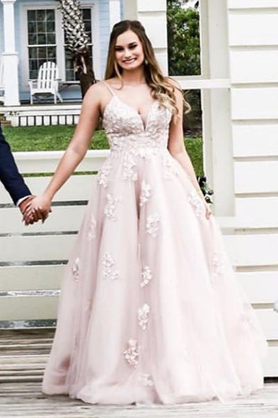 V Neck Open Back Dusty Pink Lace Long Prom Dress, Dusty Pink Lace Formal Evening Dress