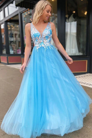 V Neck Open Back Lace Appliques Blue Long Prom Dress, Open Back Lace Floral Blue Formal Graduation Evening Dress