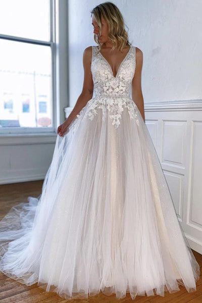 V Neck Open Back Light Champagne Lace Long Prom Dress, Appliques Light Champagne Lace Formal Graduation Evening Dress