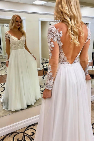 V Neck Open Back Long Sleeves White Lace Wedding Prom Dress, White Lace Formal Dress, White Evening Dress