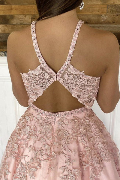 V Neck Open Back Pink Lace Long Prom Dress, Pink Lace Formal Dress, Pink Evening Dress