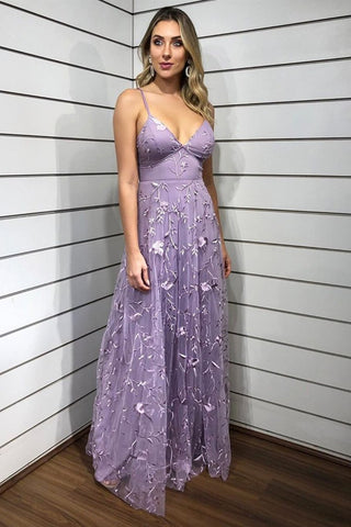 V Neck Purple Lace Floral Long Prom Dress, Purple Lace Formal Dress, Purple Evening Dress