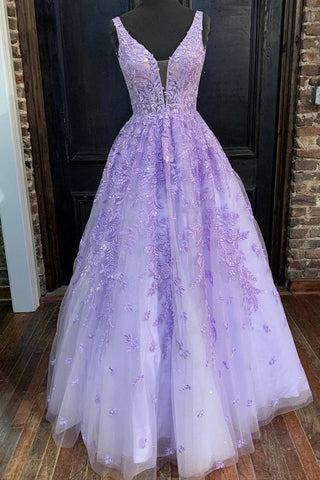 V Neck Purple Lace Long Prom Dress, Long Purple Lace Formal Dress, Lilac Lace Evening Dress