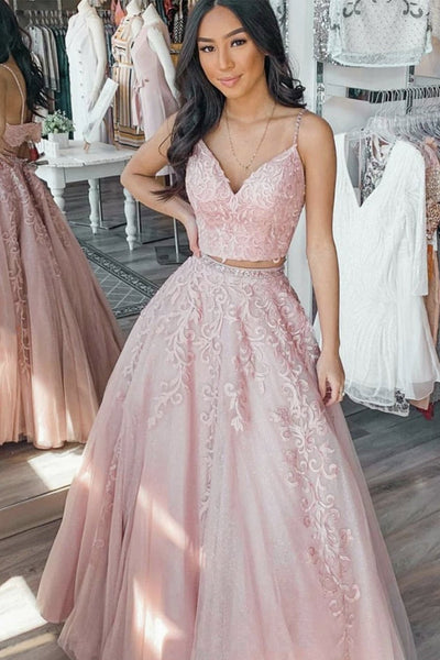 V Neck Two Pieces Pink Floral Lace Long Prom Dress, Pink Lace Formal Graduation Evening Dress