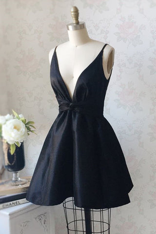 V Neck and V Back Black Satin Short Prom Homecoming Dress, V Neck Black Formal Graduation Evening Dress, Black Cocktail Dress