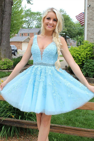 V Neck and V Back Light Blue Lace Short Prom Dress with Belt, Light Blue Lace Formal Graduation Homecoming Dress