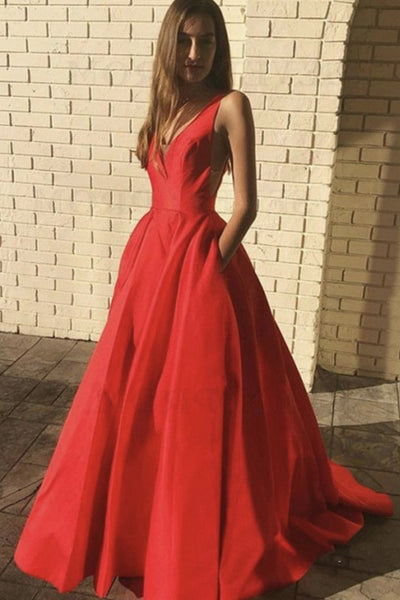 V Neck and V Back Red Satin Long Prom Dress with Pocket, V Neck Red Long Formal Dress, Red Evening Dress