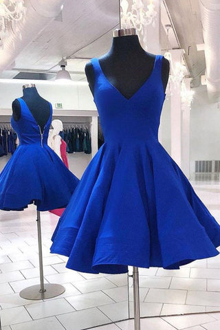 V Neck and V Back Short Blue Prom Dress, Open Back Blue Homecoming Dress, Blue Formal Evening Dress
