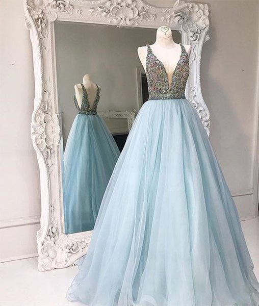V Neck And V Back Sequin Tulle Long Blue Prom Dresses, Blue Evening Dresses